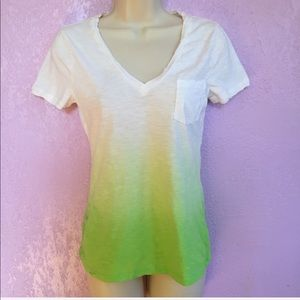 3/$20 Express Ombré Neon Lime Short Sleeve Top